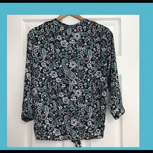 TALBOTS Paisley Black & Teal Blouse Tie Small